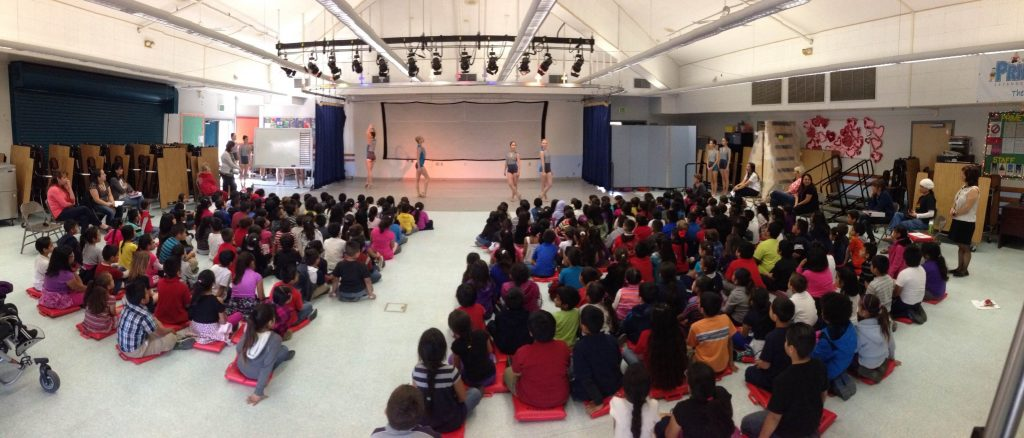 City Ballet dancers performing for a school assembly