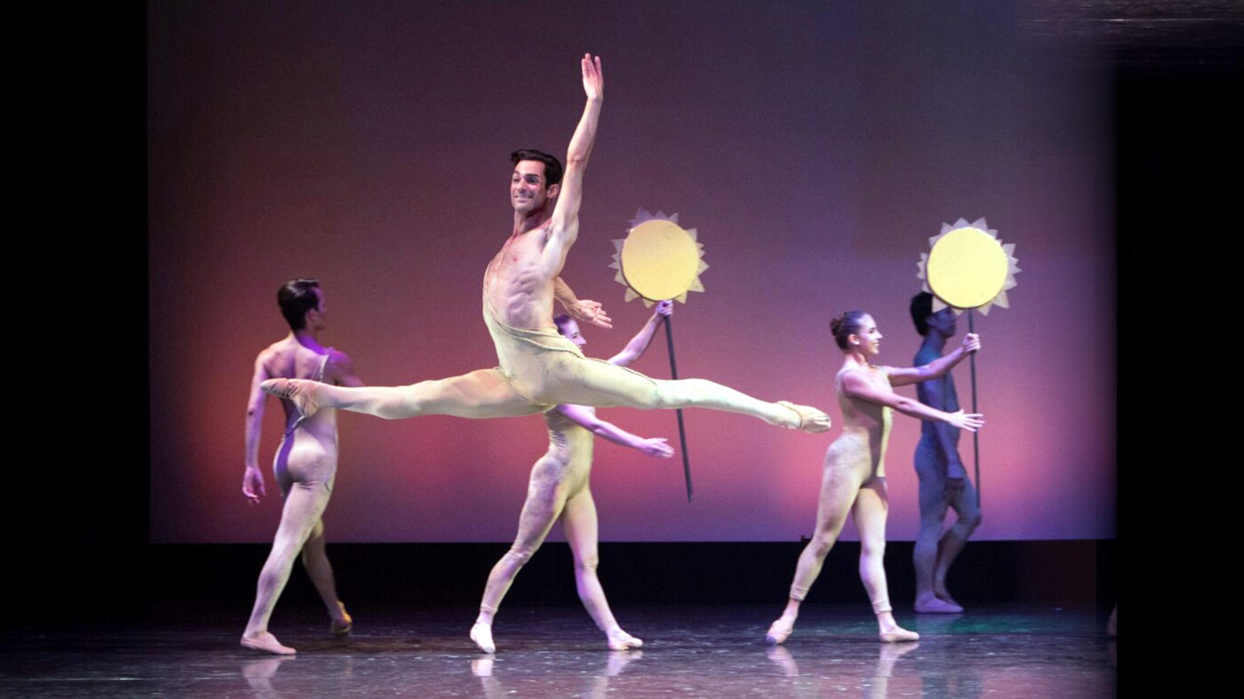 Family Ballet Series hero, male dance in mid leap