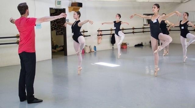 J Stafford teaching advanced ballet class